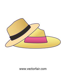 beach hats icon, flat and colorful design
