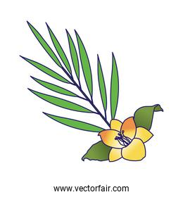 yellow flower and tropical leaf icon, colorful design