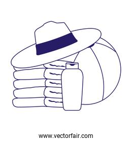 stack of towels with beach hat and ball, flat design