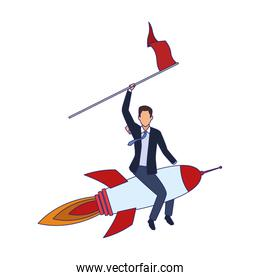 businessman on space rocket with a flag