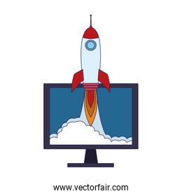 computer with rocket icon