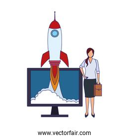 businesswoman with computer and rocket, colorful design