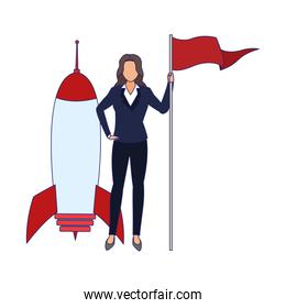 space rocket and businesswoman holding a flag