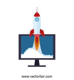 computer with rocket icon, colorful design