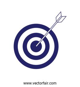 arrow hits the target, target icon, flat design