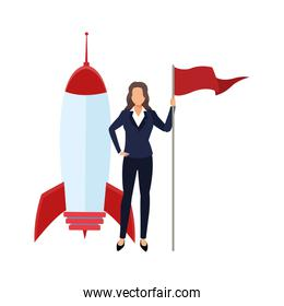 space rocket and businesswoman holding a flag, colorful design