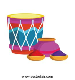 drum instrument and bowl with holi powder