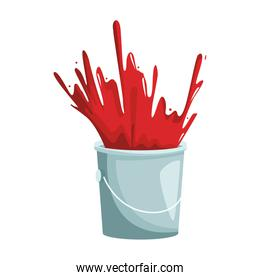 paint bucket with red paint explosion
