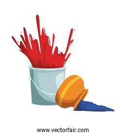 paint bucket and bowl with powder
