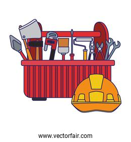 tools box with tools and safety helmet icon