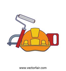 safety helmet with roller paint and hand saw, colorful design