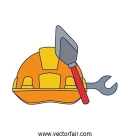 safety helmet with spatula and wrench tools, colorful design
