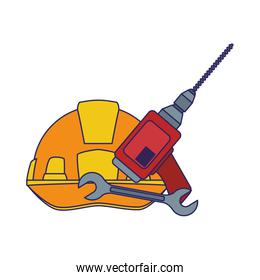 safety helmet with drill and wrench tool, colorful design