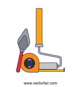 paint roller with hand meter and spatula tool