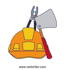 safety helmet with ax and pliers tools, colorful design
