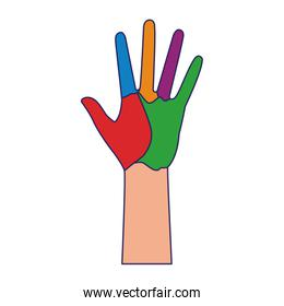 hand with colorful paint, flat design