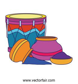 drum instrument and holi powders icon, colorful design