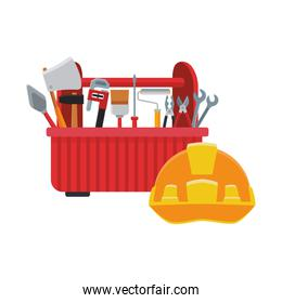 tools box with tools and safety helmet icon, colorful design