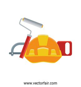 safety helmet with roller paint and hand saw