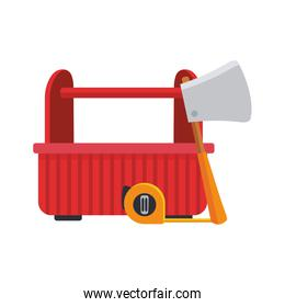 tools box with hand meter and ax tool, colorful design