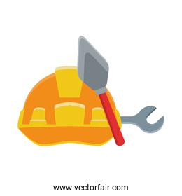 safety helmet with spatula and wrench tools