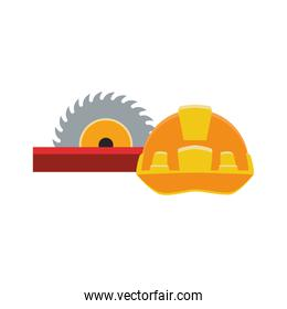 saw and safety helmet icon