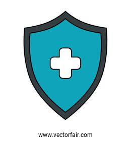 shield with cross isolated icon