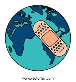 world planet earth with cure band isolated icon