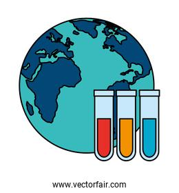 world planet earth with tubes test isolated icon