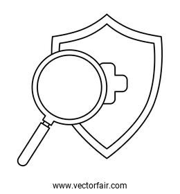 magnifying glass with shield isolated icon