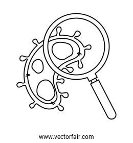 magnifying glass with particle covid 19