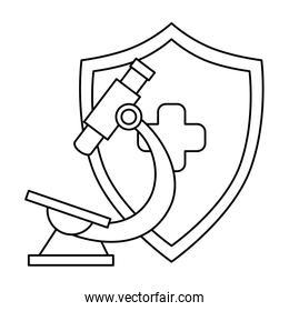 microscope with shield isolated icon