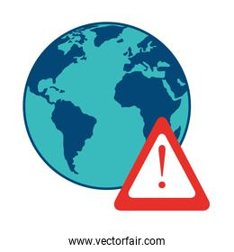 world planet earth with signal alert isolated icon
