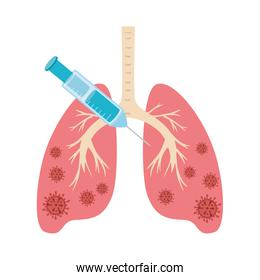 lungs with covid 19 and syringe isolated icon