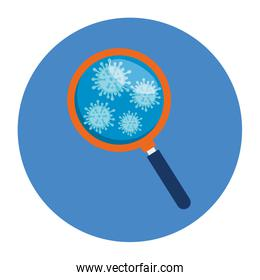 magnifying glass with particles covid 19
