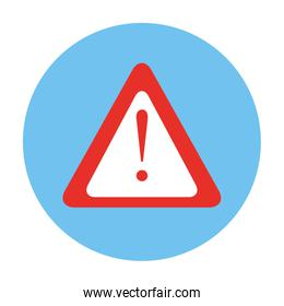 triangle warning sign in frame circular isolated icon