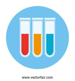 set of tube test laboratory in frame circular isolated icon