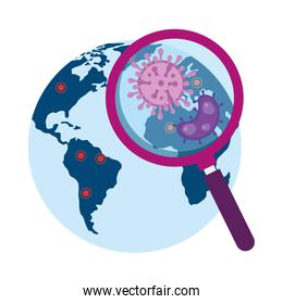 magnifying glass with particles covid 19 in world planet