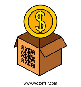 qr code over box and coin vector design