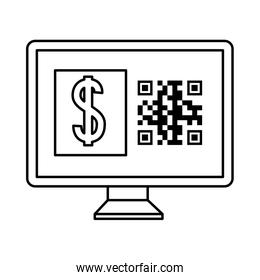 qr code inside computer and dollar over white vector design