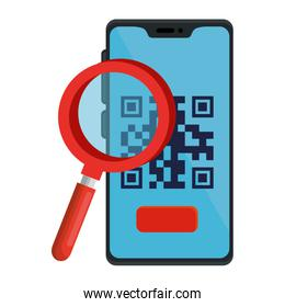 qr code inside smartphone and lupe vector design