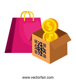 qr code over box bag and coins vector design