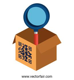 qr code over box and lupe vector design