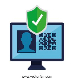 qr code inside computer and shield vector design