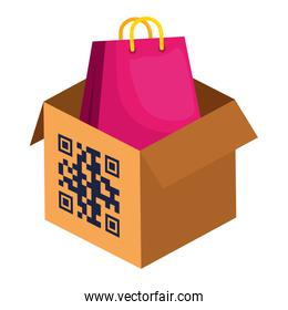qr code over box and bag vector design
