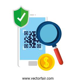 qr code inside smartphone shield and lupe vector design