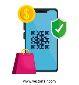 qr code inside smartphone coin shield and bag vector design