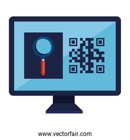 qr code inside computer and lupe vector design