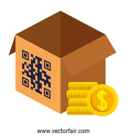 qr code over box and coins vector design
