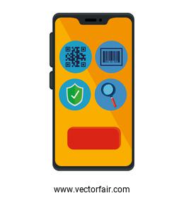 qr code inside smartphone and icons vector design